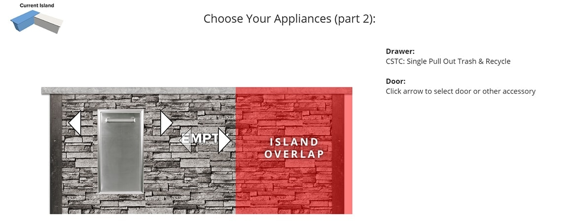 RTA Design Tool Choosing Bar island Appliances