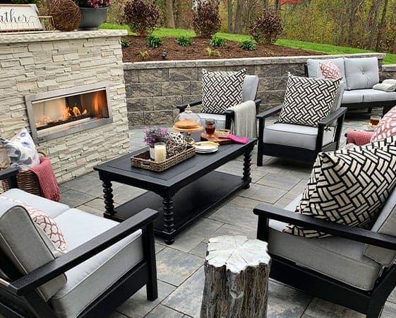 farah merhi outdoor fireplace space