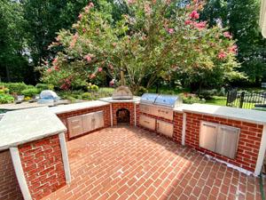 Brick U Shape Outdoor Kitchen by Pool 3