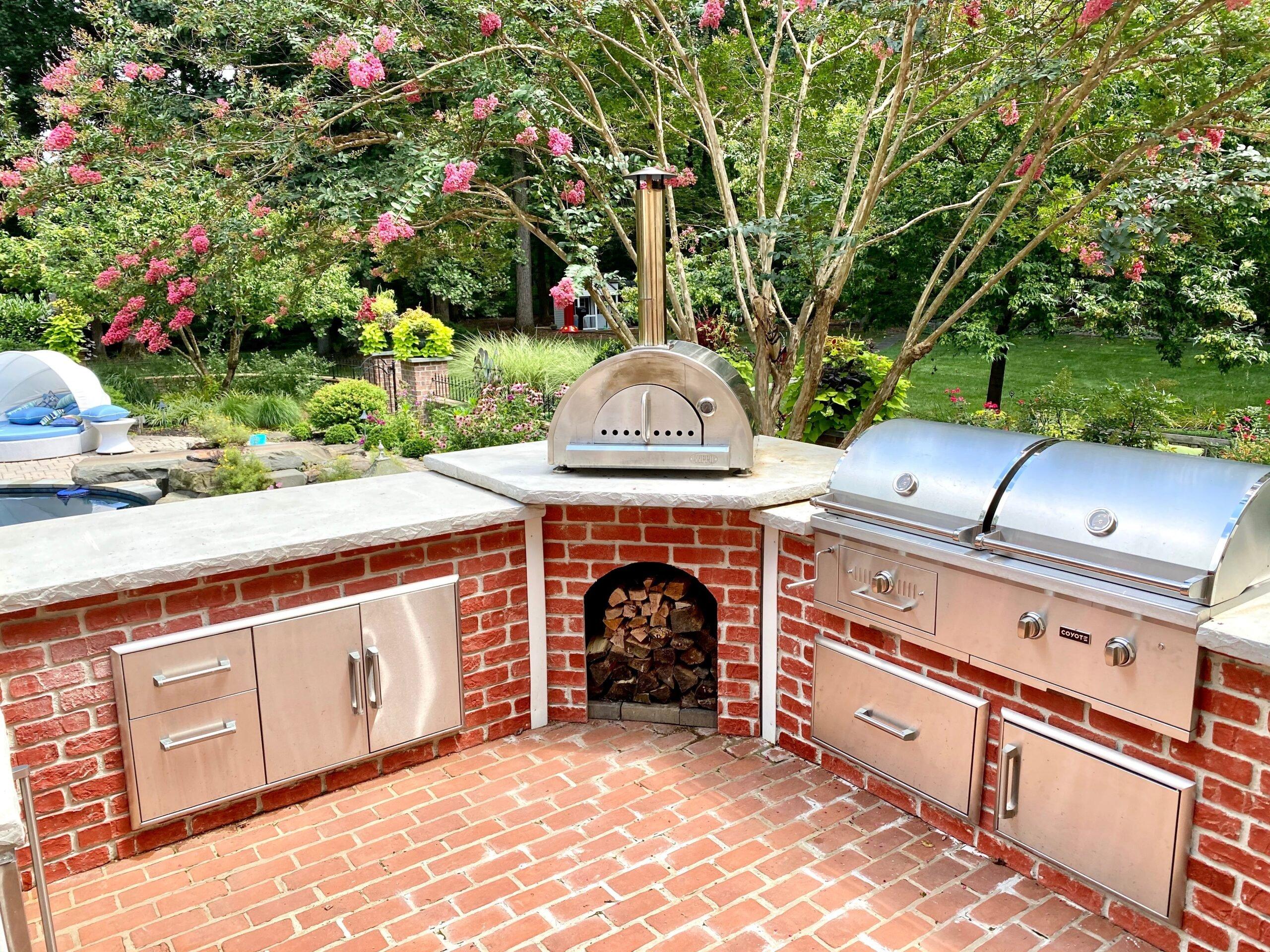 Brick U Shape Outdoor Kitchen by Pool