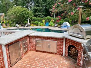 Brick U Shape Outdoor Kitchen by Pool 1